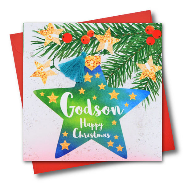 Christmas Card, Star Bauble, Godson, Happy Christmas, Tassel Embellished