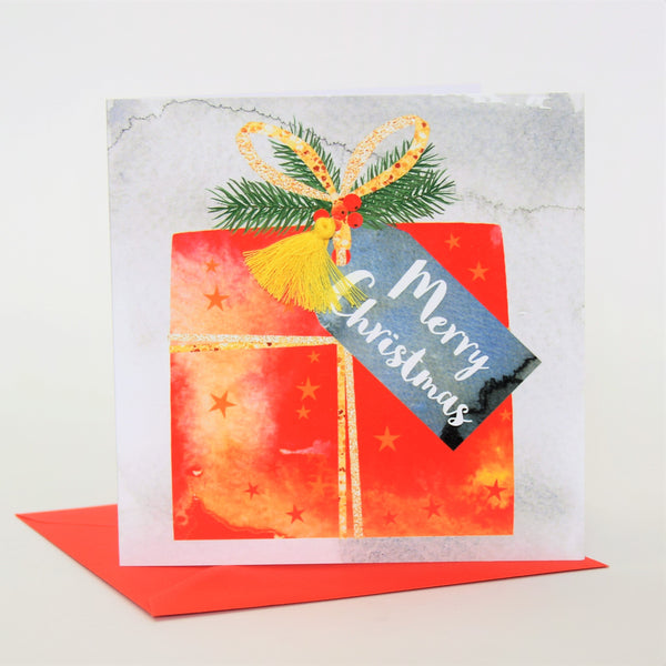 Christmas Card, Present, Merry Christmas, Embellished with a colourful tassel