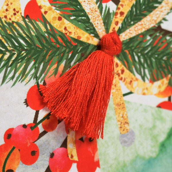 Christmas Card, Berries and Bow, Happy Christmas, Tassel Embellished