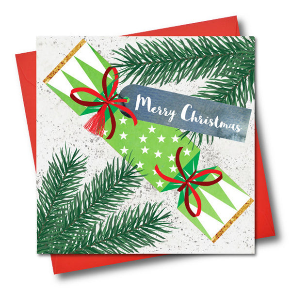 Christmas Card, Cracker, Merry Christmas, Embellished with a colourful tassel