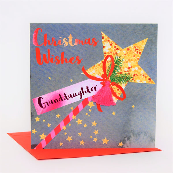 Christmas Card, Wand, Christmas Wishes, Granddaughter, Tassel Embellished