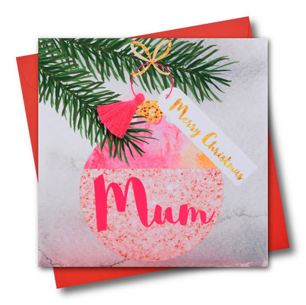 Christmas Card, Bauble, Merry Christmas, Mum, Tassel Embellished