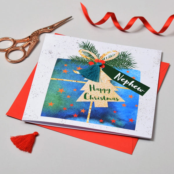 Christmas Card, Present, Nephew, Happy Christmas, Tassel Embellished