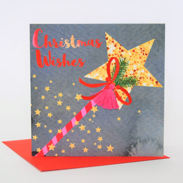 Christmas Card, Wand, Christmas Wishes, Embellished with a colourful tassel