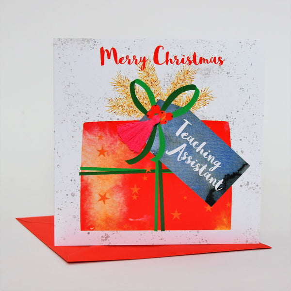 Christmas Card, Present, Merry Christmas, Teaching Assistant, Tassel Embellished