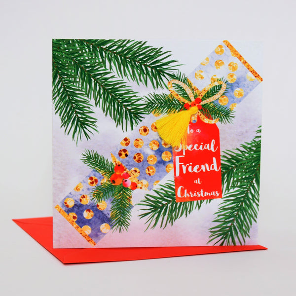 Christmas Card, Cracker, To a Special Friend at Christmas, Tassel Embellished