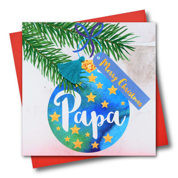 Christmas Card, Bauble, Merry Christmas, Papa, Tassel Embellished
