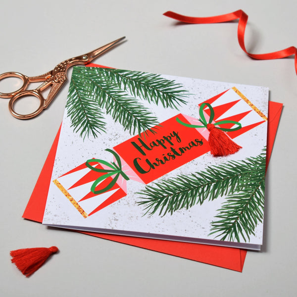 Christmas Card, Cracker, Happy Christmas, Embellished with a colourful tassel
