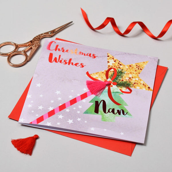 Christmas Card, Wand, Christmas Wishes, Nan, Embellished with a colourful tassel