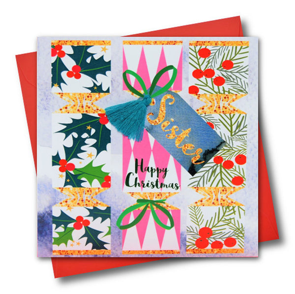 Christmas Card, Crackers, Sister, Happy Christmas, Tassel Embellished