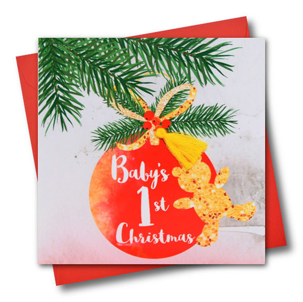 Christmas Card, Bauble, Baby's First Christmas, Tassel Embellished