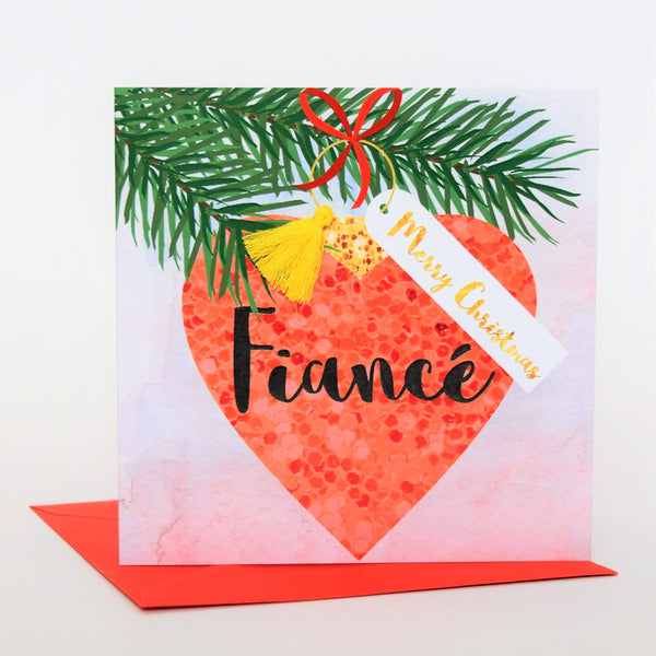 Christmas Card, Bauble, Merry Christmas, Fiance, Tassel Embellished