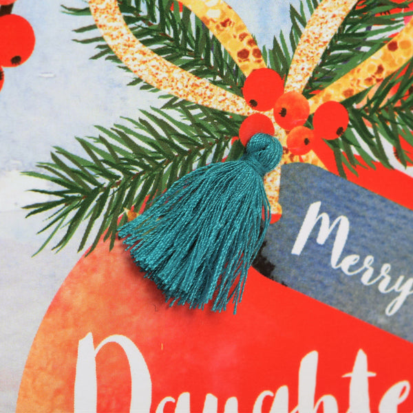 Christmas Card, Bauble, Daughter and son in law, Tassel Embellished
