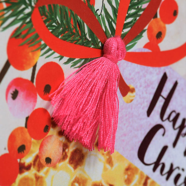 Christmas Card, Bauble & Berries, Happy Christmas, Tassel Embellished