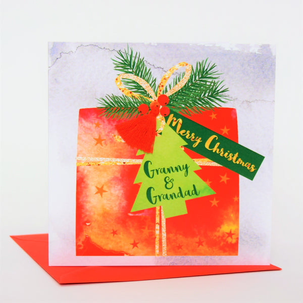 Christmas Card, Present, Merry Christmas, Granny and Grandad, Tassel Embellished