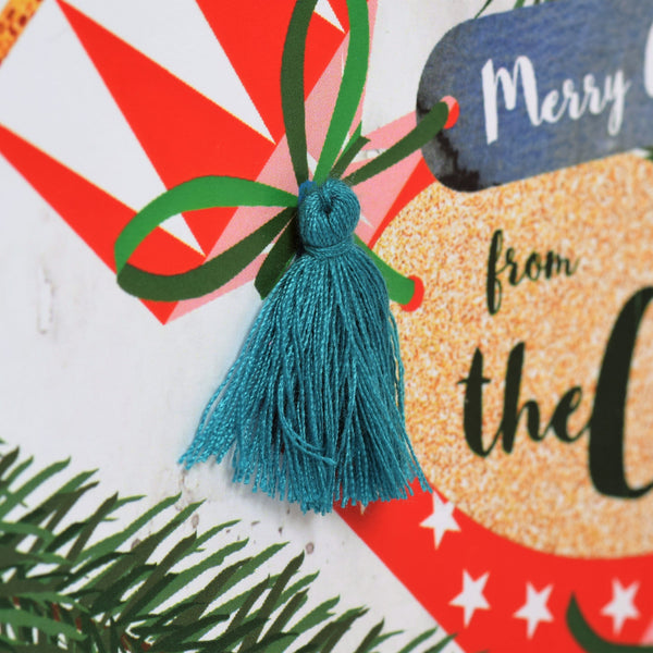 Christmas Card, Cracker and Fish Tag, from the Cat, Tassel Embellished