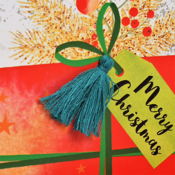 Christmas Card, Present, To both of you, merry Christmas , Tassel Embellished