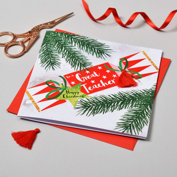 Christmas Card, Cracker, To a Great Teacher, Happy Christmas, Tassel Embellished