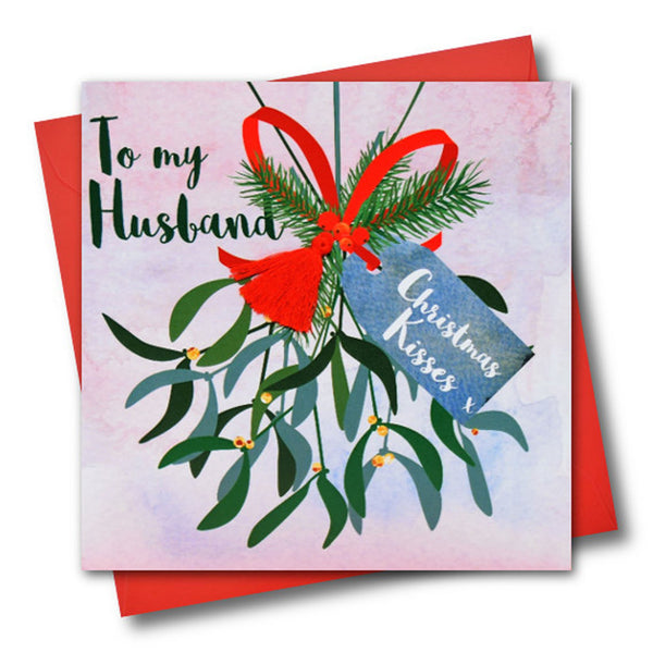 Christmas Card, Mistletoe, To my husband, Christmas Kisses, Tassel Embellished
