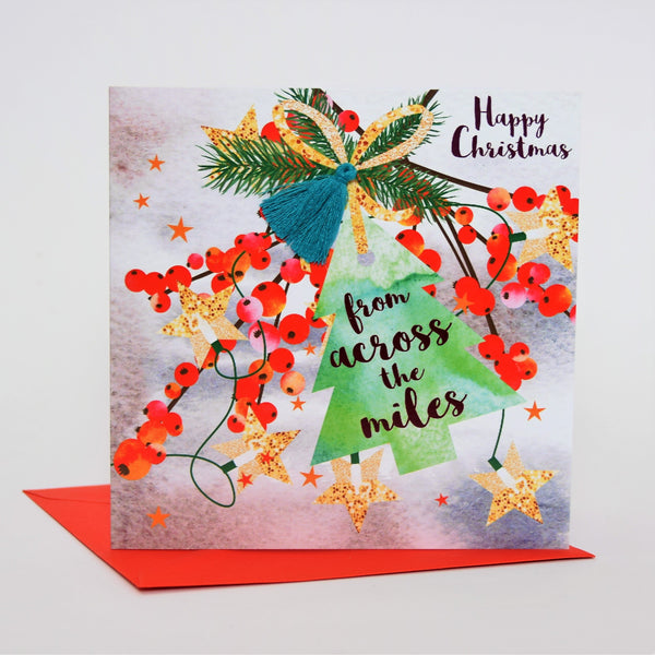 Christmas Card, Berries, From Across the Miles, Tassel Embellished