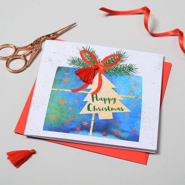 Christmas Card, Present and Bow, Happy Christmas, Tassel Embellished