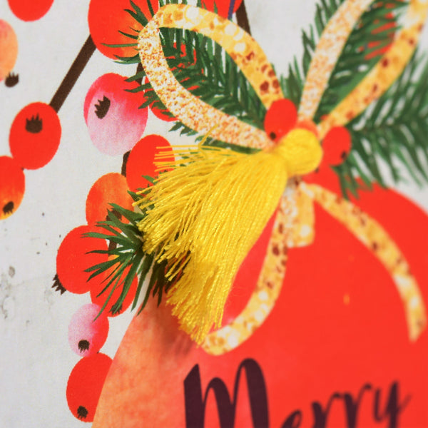 Christmas Card, Bauble and Pine, Merry Christmas, Tassel Embellished