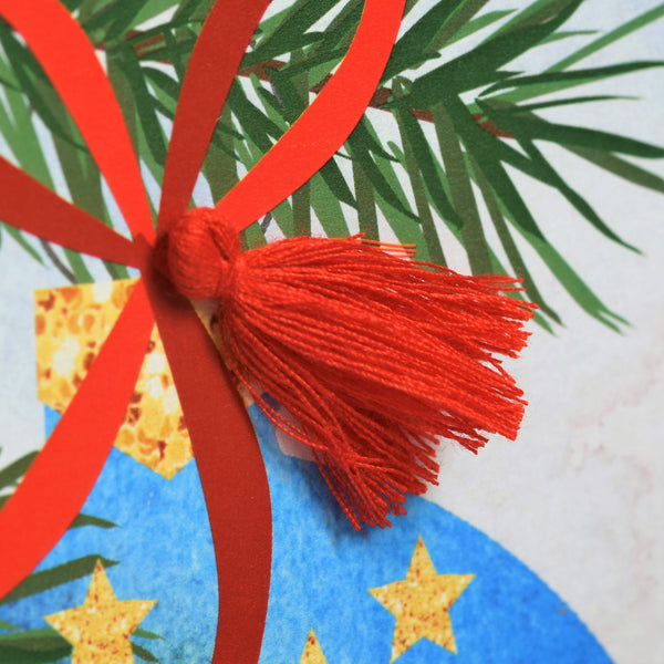 Christmas Card, Bauble and Pine, Season's Greetings, Tassel Embellished