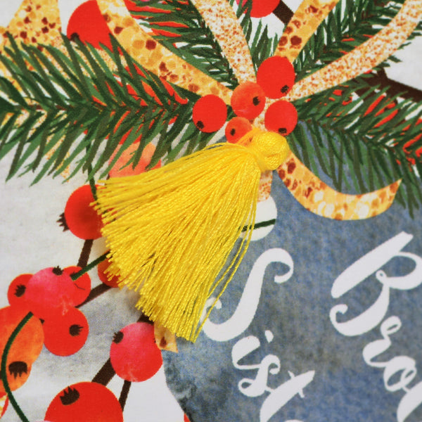 Christmas Card, Berries, Brother and Sister in law, Tassel Embellished