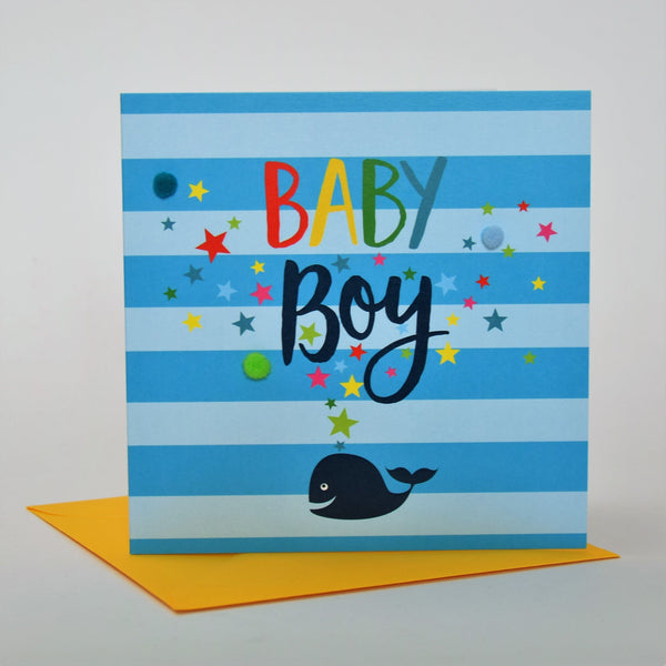 Baby Card, Whale, Baby Boy, Embellished with colourful pompoms