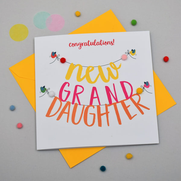 Baby Card, Banner, Congratulations! New Granddaughter, Embellished with pompoms
