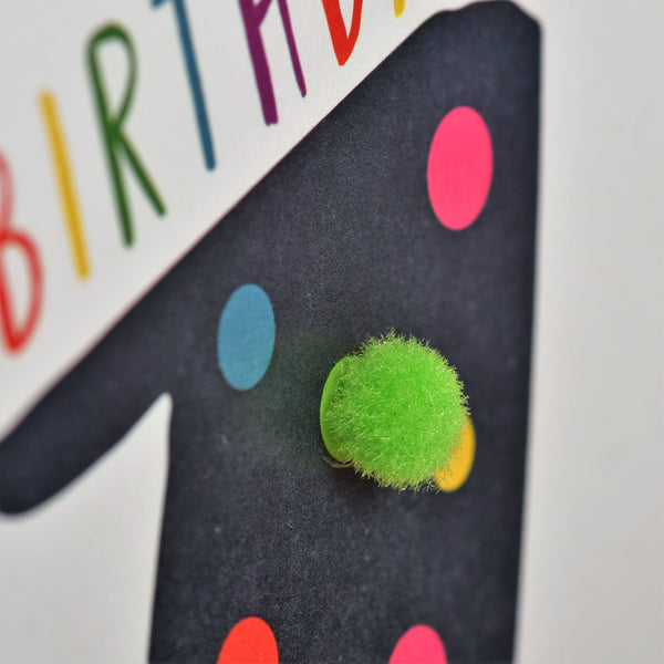 Birthday Card, Age 11 - Blue, Happy Birthday 11, Embellished with pompoms