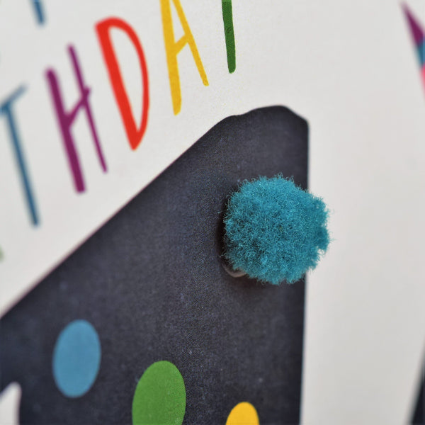 Birthday Card, Age 16 - Blue, Happy Birthday 16, Embellished with pompoms