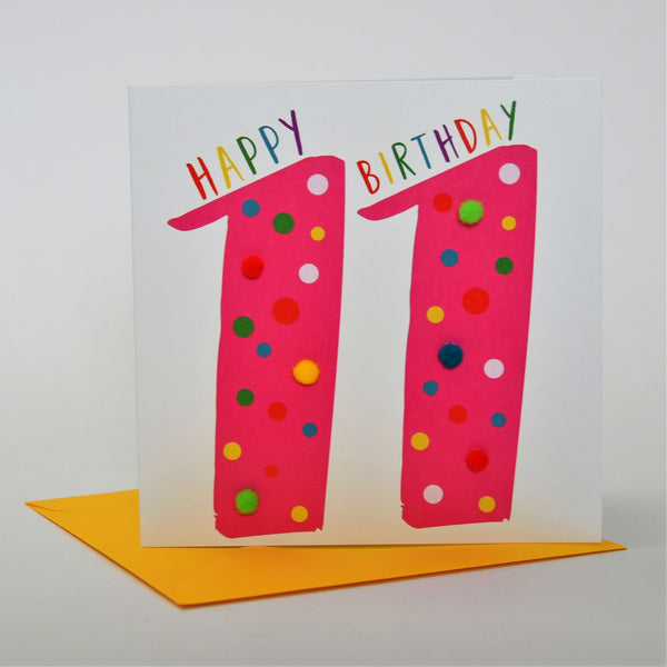 Birthday Card, Age 11 - Pink, Happy Birthday 11, Embellished with pompoms