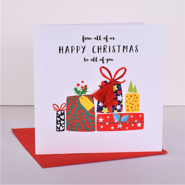Christmas Card, Presents, From All of Us to All of You, Embellished with pompoms