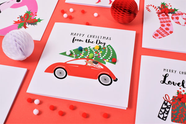 Christmas Card, Dog in the back of a Car, from the Dog, Embellished with pompoms