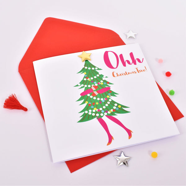 Christmas Card, Ohh Christmas Tree! Embellished with a shiny padded star