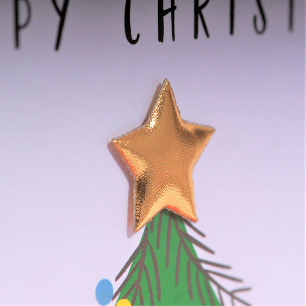 Christmas Card, Christmas Tree & Presents, Grandma, padded star Embellished