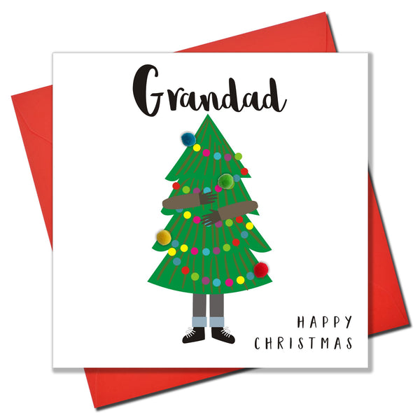 Christmas Card, Man Carrying Christmas Tree, Grandad, Embellished with pompoms