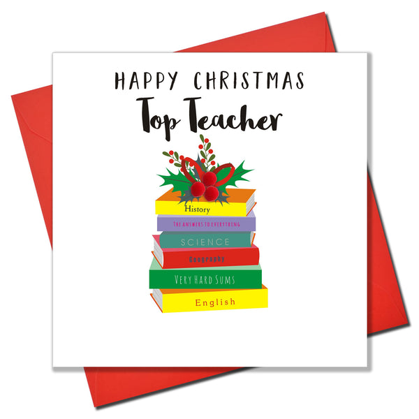 Christmas Card, Pile of School Books, Top Teacher, Embellished with pompoms