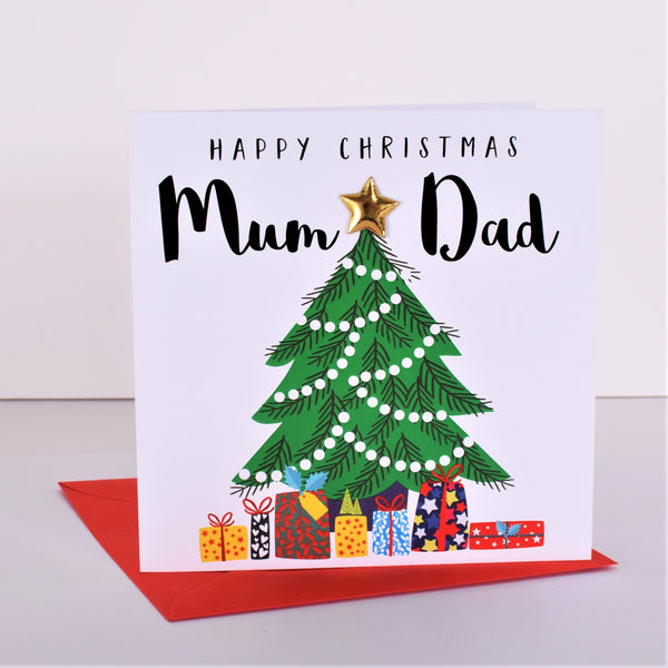 Christmas Card, Christmas Tree and Presents, Mum & Dad, padded star Embellished
