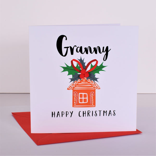 Christmas Card, Gingerbread House, Granny, Embellished with pompoms