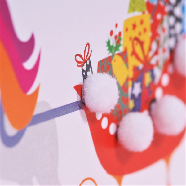 Christmas Card, Unicorn Sleigh, Embellished with colourful pompoms