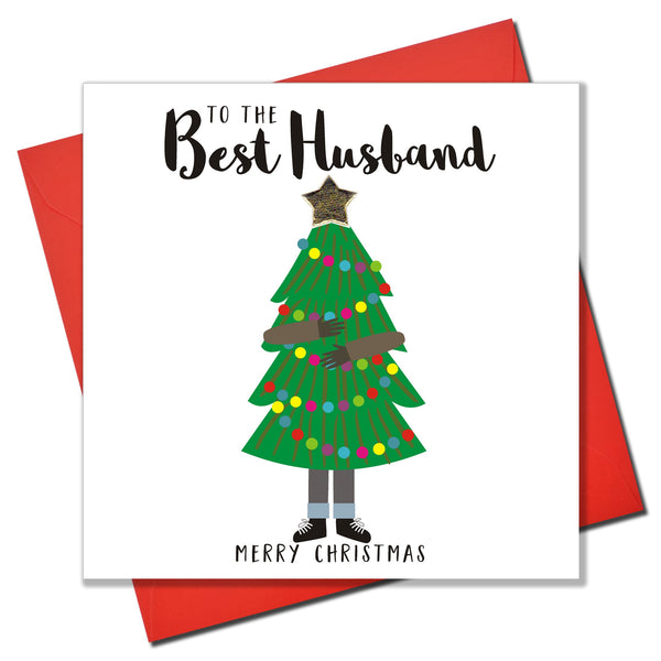 Christmas Card, Man Carrying Christmas Tree, Husband, padded star Embellished