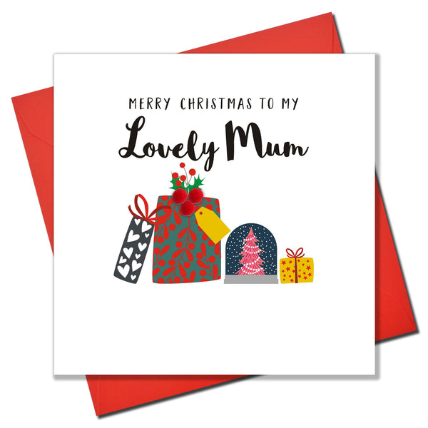 Christmas Card, Pile of Presents, Lovely Mum, Embellished with colourful pompoms