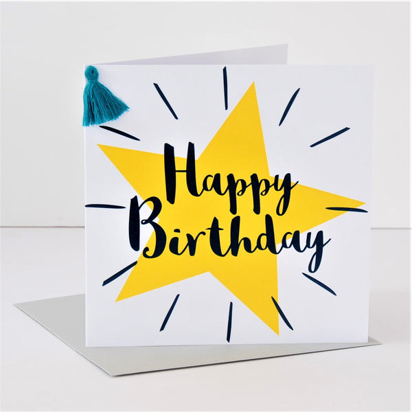Birthday Card, Star, Happy Birthday, Embellished with a colourful tassel