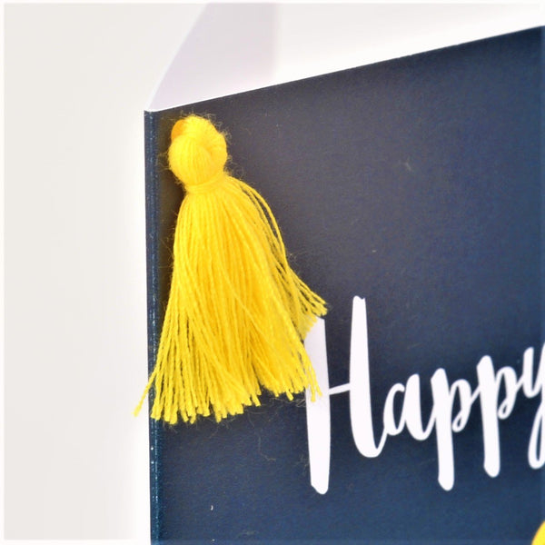 Birthday Card, Dab Man, One of a Kind, Embellished with a colourful tassel