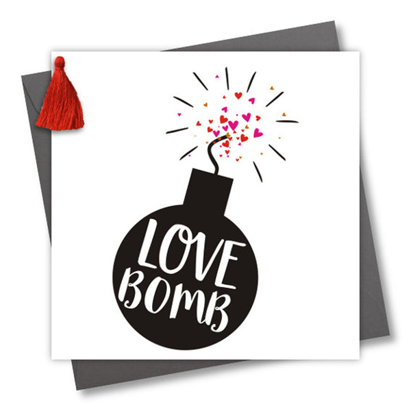 Valentine's Day Card, Bomb, Love Bomb, Embellished with a colourful tassel