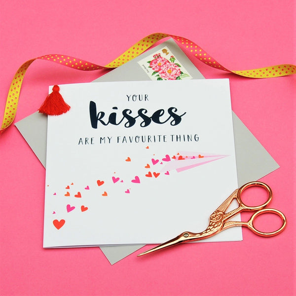 Valentine's Day Card, Paper Plane Kisses, Embellished with a colourful tassel