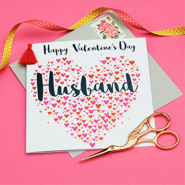 Valentine's Day Card, Husband, Hearts, Embellished with a colourful tassel