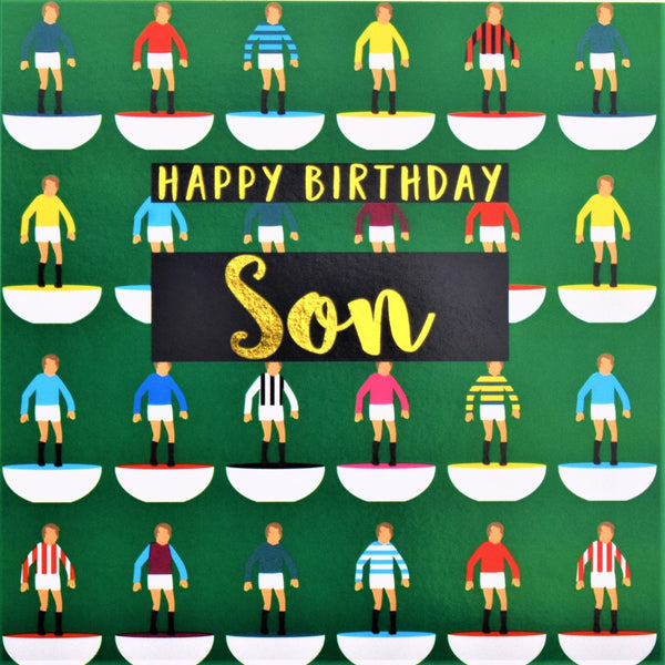 Birthday Card, Son Footballers, Happy Birthday Son, text foiled in shiny gold